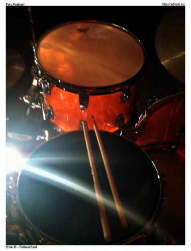 Schlagzeug mit neuen Fellen