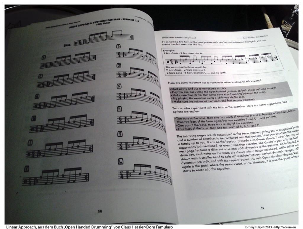 """Linear Approach, aus dem Buch """"Open Handed Drumming"""" von Claus Hessler/Dom Famularo"""