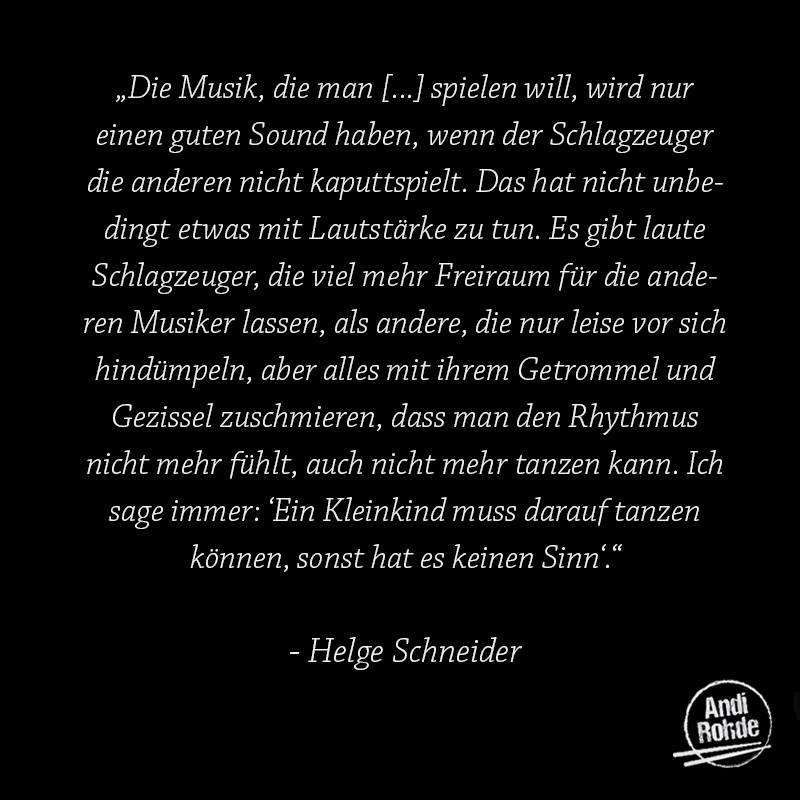 Helge Schneider über Drummer!