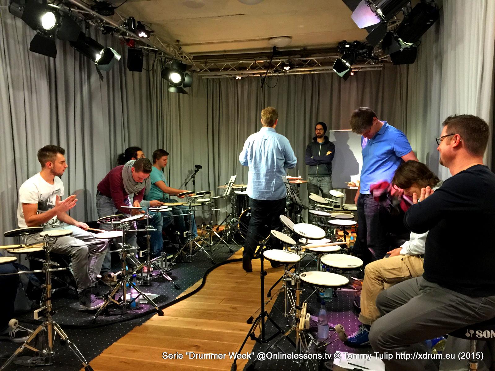 Florian Alexandru-Zorn (von hinten) und Benny Greb - Drummer Week 10.15 Onlinelessons.tv