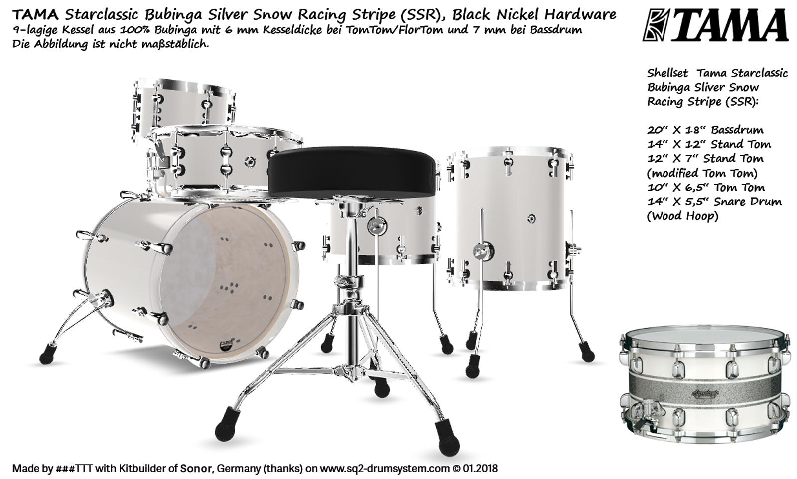 Tama Starclassic Bubinga Silver Snow Racing Stripe (SSR), Black Nickel Hardware