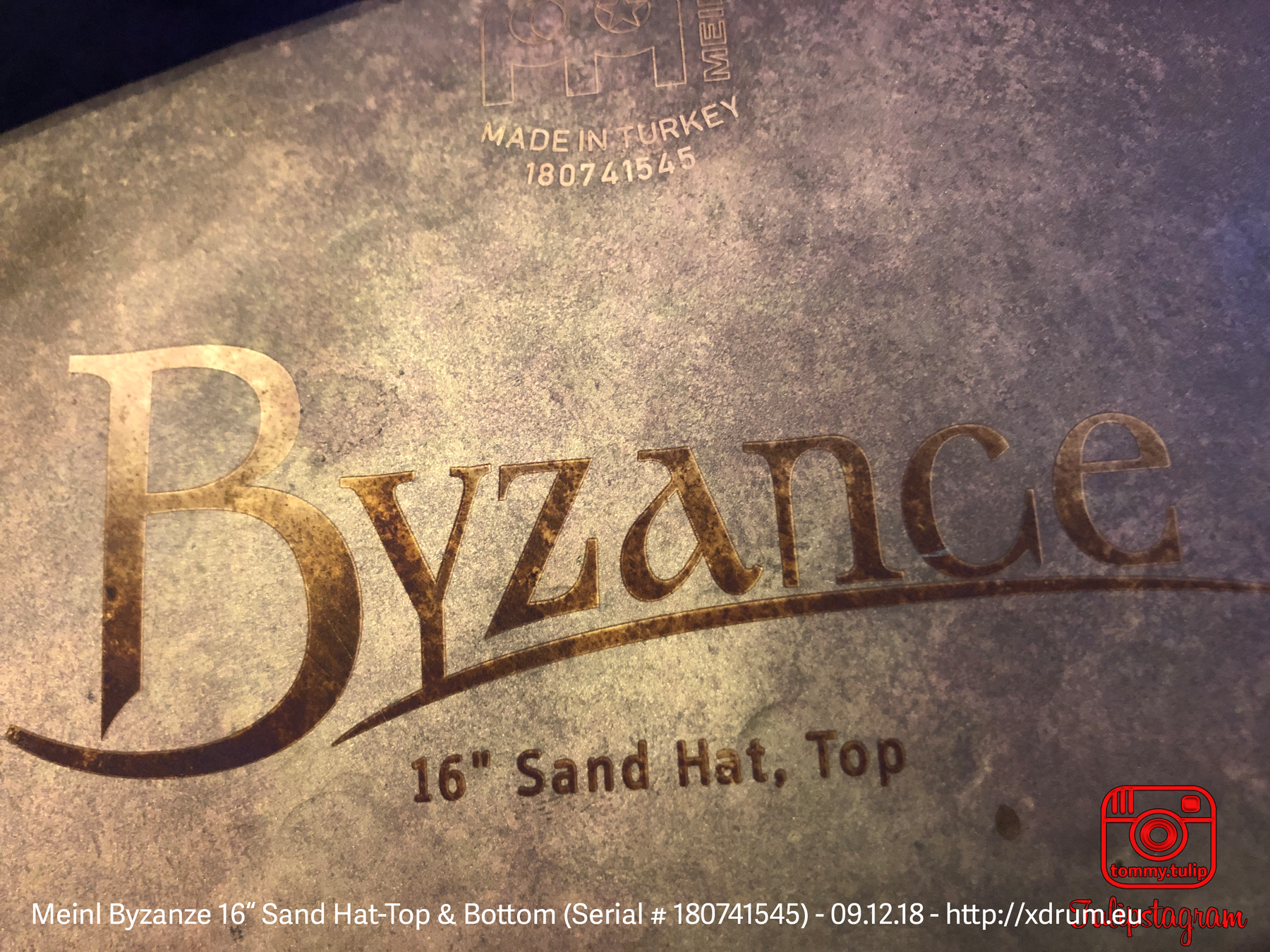 "Meinl Sand Hat, Top & Bottom 16"" (Serial # 180741545) - 09.12.18 (© #TTT)"