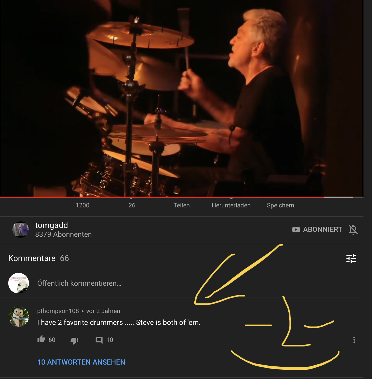 Youtube Nutzer-Kommentar zu Dr. Steve Gadds Schlagzeugspiel (Screenshot)